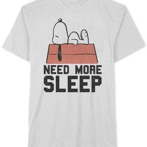 Hybrid Peanuts Snoopy Need More Sleep T-Shirt Whit